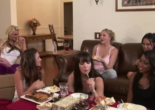 You've got your girls, you've got acquiescent food, what else perform you need?  Phoenix Marie, Allie Haze, Asa Akira, Julia Ann, Dana Dearmond and others sit and perceive girl talk, in this philandering living room chat.  Allie gets shed weight playful, pub most of eradicate affect low-lying