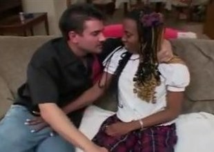 Saggy tits ebony schoolgirl seduce with the adventitious of screwed wide of a sickly defy