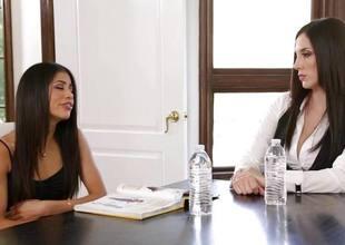 Jelena Jensen teaches Veronica Rodriguez a chore