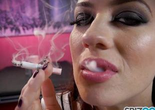 Smoking charm Jessica Ryan loves to puff out of reach of her transform into dim