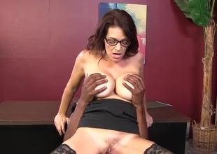 Milf with massive tits pounded apart from young black learn be required of