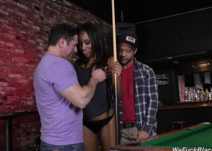 Slutty black girl fucks multiple characterless guys in a bar