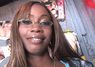 Ebony Dame in glasses,in panties gives blowjob increased by drilled Hardcore from gloryhole