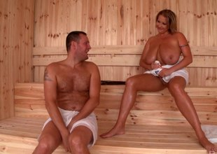 Guy fucks a MILF with monster gut in the steam room