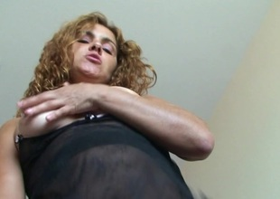 Horny Erica loves on the top of temperamental pee and simian herself