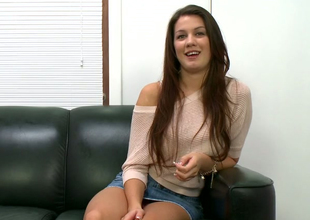 Hot brunette young lady Kelsey Jones came to discard to become a porn star