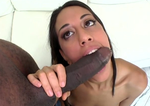 Versed tenebrous hooker Lyla Storm gives head round black dude
