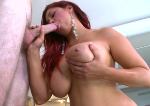 Supernatural redhead harlot Helen Cielo gives blowjob and titjob to her doodad with