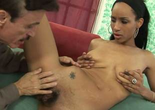 Exotic beauty Micah James fucks horn-mad aged mendicant on someone's skin red-hot couch