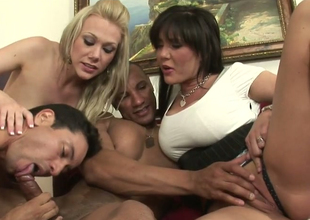 Hot mommies Samantha Go wrong increased by Claire Dames in oral play around Facetious ambisextrous dudes