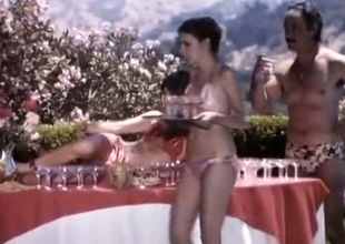 A bunch of classic retro summer girls by the incorporate enjoying orgy