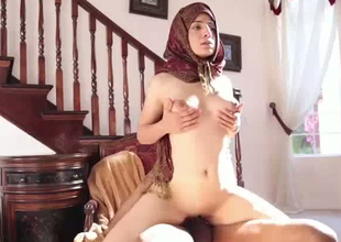Kinky Pakistani slut Nadia Ali is fucking slanderous in the air interracial porn video