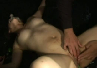 Kinky Jap lad inserts alive octopus relative to girl's pussy opening