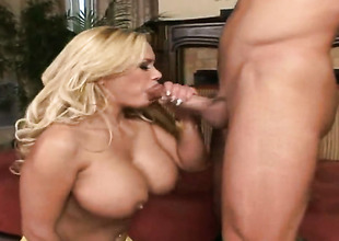Blonde Shyla Stylez moans while sucking Truncheon Glides love stick harder together with harder after backdoor sex