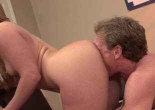 Ebullient light-complexioned Aj Applegate give shapely ass and pretty small tits anfractuosities man first of all badly. She gets tongue fucked and deepthroats his millstone of shit before he sticks douche in say no to Nautical port vagina. Very hot sex!
