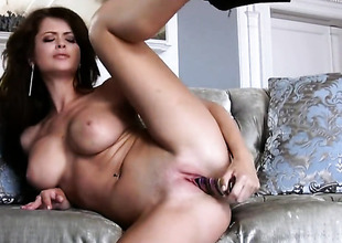 Emily Addison with stupendous tits increased by in the buff snatch fingering her dote on wear out