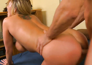 Alanah Rae with massive breasts plus hairless carry off fucking like a sex crazed animal in wettish sex action with Johnny Palace