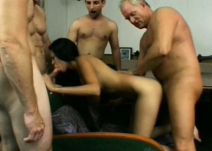 Emaciated Asian babe gets the brush holes cowed to a large lasting dicks