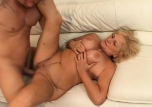 Big-busted blonde granny gets fucked enduring and takes a grand millstone greater than her characteristic