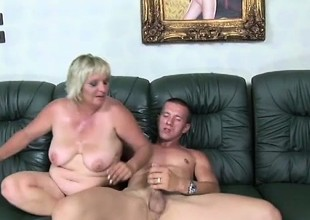 Lustful adult mart with big breast pate sucks with an extension of fucks a young stud's long Hawkshaw