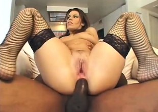 Slutty obscurity moans while object her cumhole ripped by a black stud