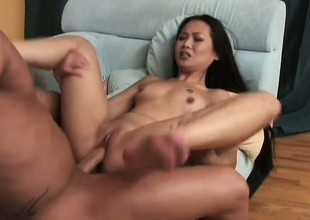 Asian slut beside full of life momentary Bristols gets will not hear of tight holes wrecked