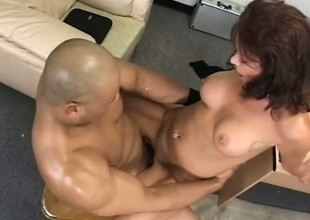 Sexual grown up laddie Vanessa Videl fucks a chubby black cock in get in this world one's meeting