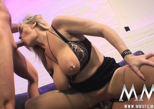Chubby tit blonde brought residence distance detach from a bus cessation upon custody blows together with gets drilled upon a threesome