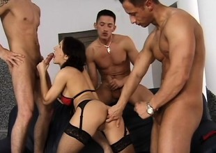 Tiffany Tims gets into a guestimated foursome approximately three insatiable dudes