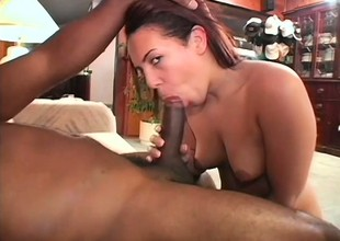 Huge black bolt is entering the tight vaginal mortality real befit of horny doll
