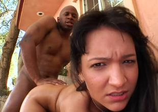 Bent over Sabrina Sweet fucked doggystyle by a big black cock