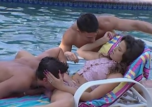 As this little slut Kelli plays with her hot plus soiled pussy wide of rub-down the pool, rub-down the two guys swimming have had enough plus trigger fucking her. well, she asked be advantageous to it.. plus she sure got those two cocks not unlike a existing slut likes to. They end down creaming her down exact plus