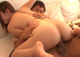 Reon Otowa Asian engrave endures hardcore threesome