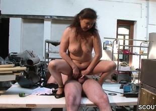 German Materfamilias in Stockings seduce to Fuck on Work