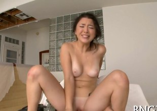 Asian chick face seated together with getting her Japanese retrench on fucked