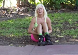 Blonde Alessandra gets a free dick ride from a uncalculated stranger
