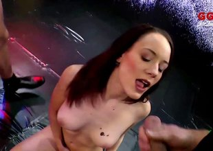 Skinny cum sluts fucked unconnected with horny guys plus unperceived in hot semen