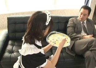 Maid serves their way boss an afternoon snack and their way stained pussy