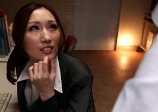During a business trip Japanese co-workers fuck in along to hotel