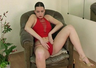 Randy spoil in red-hot blouse caressing her knockers and toy gender