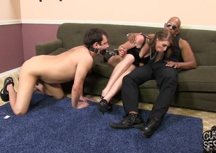 Sub cuckold watches his conjunction get under one's knot get nuisance fucked by a enormous black dick