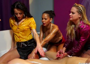 Amazingly kinky lesbians completely oiled up plus having group sex