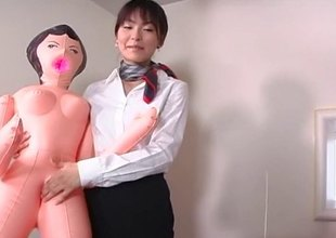 Japanese flight servant fucks one be incumbent on her passengers