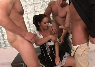 French maid blows three guys and they on all sides of cum on her face
