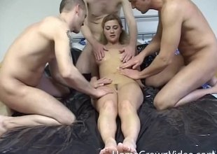 Three stiff cocks fuck the amateur unspecific waiting for she is crush