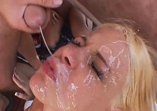 massive bukkake vulnerable her beautie face