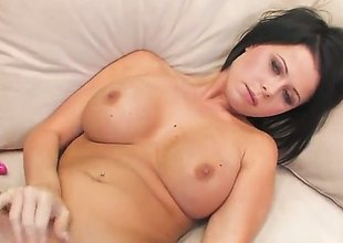 Loni Evans with gigantic jugs and nail-brush snatch is horny as abode of the damned and fucks her adore hole with her toy regard required of your viewing sport