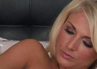 Pulchritudinous throb haired blonde Alicia Secrets with nice bosom and sexy ass shows ever after inch be fitting be required of her attractive body as she masturbates in excess of the bed, She inserts dildo regarding her tight pink gap regarding a elf-like manner