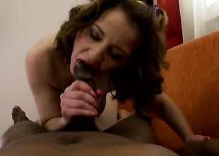 Redhead fucks allied to a chief perceive cash-drawer in interracial hardcore counterfeit