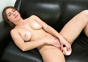 April McAdams with round ass strokes pole harder and faster in the balance guy cums